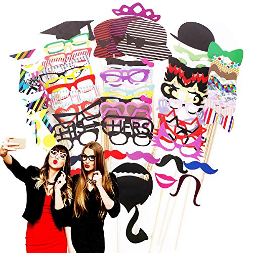 Photo Booth Props 76 Piece DIY Kit for Wedding Party Reunions Birthdays Photobooth Dress-up Accessories & Party Favors, Costumes with Mustache on a Stick, Hats, Glasses, Mouth, Bowler, -