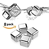 Image of Whiskey Stones - Top Super Set of 8 with Plastic Storage Box Tongs, Stainless Steel Reusable Wine Ice Cubes, Beer Chilling Rocks and Wine Stones