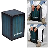 ammoon Wooden Box Drum Cajon Hand Drum Persussion Instrument Zebra Wood with Stings Rubber Feet 30 31 48cm