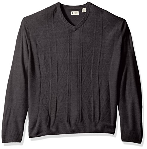 Haggar Men's Soft Acrylic Solid Cable Knit V Neck Sweater