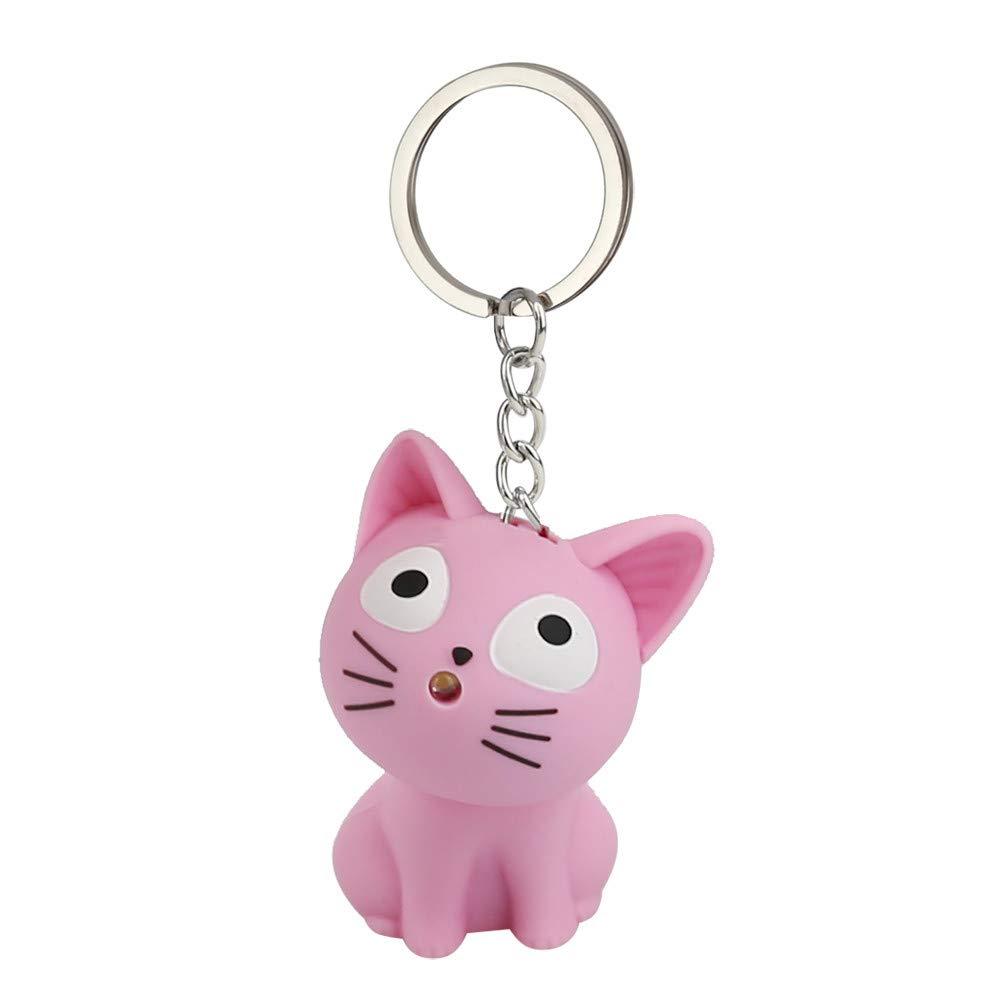 Emerayo Cute Animal Keychain Flashlight Kids Toy Gift with LED Light and Sound Keyfob (Pink Cat, One)