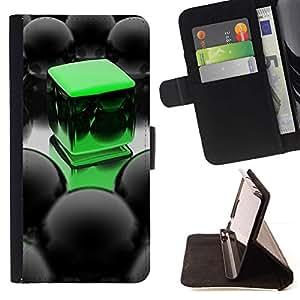 For Samsung Galaxy J3(2016) J320F J320P J320M J320Y Case , Abstract Green Cube- la tarjeta de Crédito Slots PU Funda de cuero Monedero caso cubierta de piel