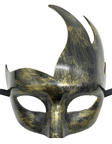 Flywife Masquerade Mask Venetian Party Mask Halloween Costumes Black Mardi Gras Mask (Antique Gold) by Flywife