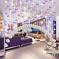 Hot Sale!!1PCs Luxury Crystal Glass Bead Curtain,Living Room Bedroom Window Door Wedding Decor Length - 1M (C:Purple)