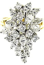 2.20 Ct White & Yellow Gold Diamond Cluster Ring 14 Kt