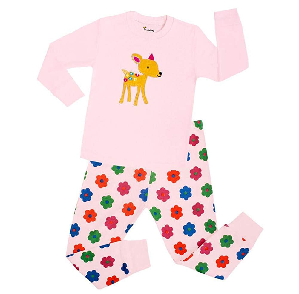 ZYZF Kids Boys Girls Christmas Cartoon Pajama Sets Unisex Cotton Xmas Jammies 20181008001