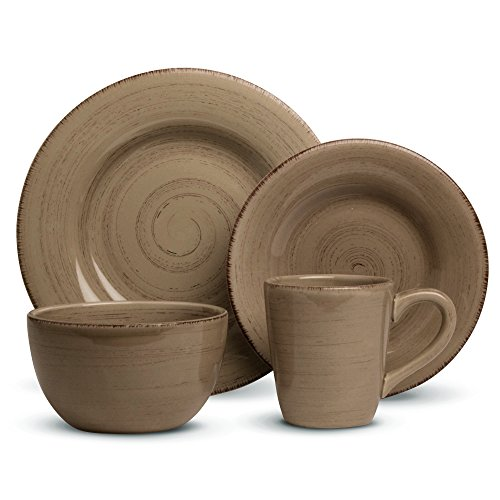 e Ironstone Ceramic Dinner Set, A Stylish Way to Bring Bold Color to Your Table, Tan (16 Piece Tan Dinnerware Set)