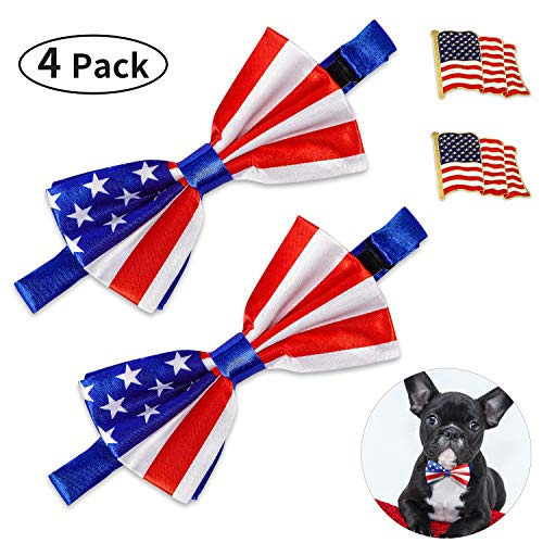 Bow Accessory Tie (Norme 2 Pieces American Flag Dog Bow Tie and 2 Pieces American Flag Pet Tie Tack for Independence Day Pet Accessories)