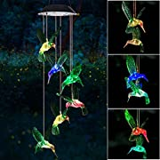 #LightningDeal Wind Chime, Solar Hummingbird Wind Chimes Outdoor/Indoor(Gifts for mom/momgrandma Gifts/Birthday Gifts for mom) Outdoor Decor,Yard Decorations ,Memorial Wind Chimes,mom's Best Gifts