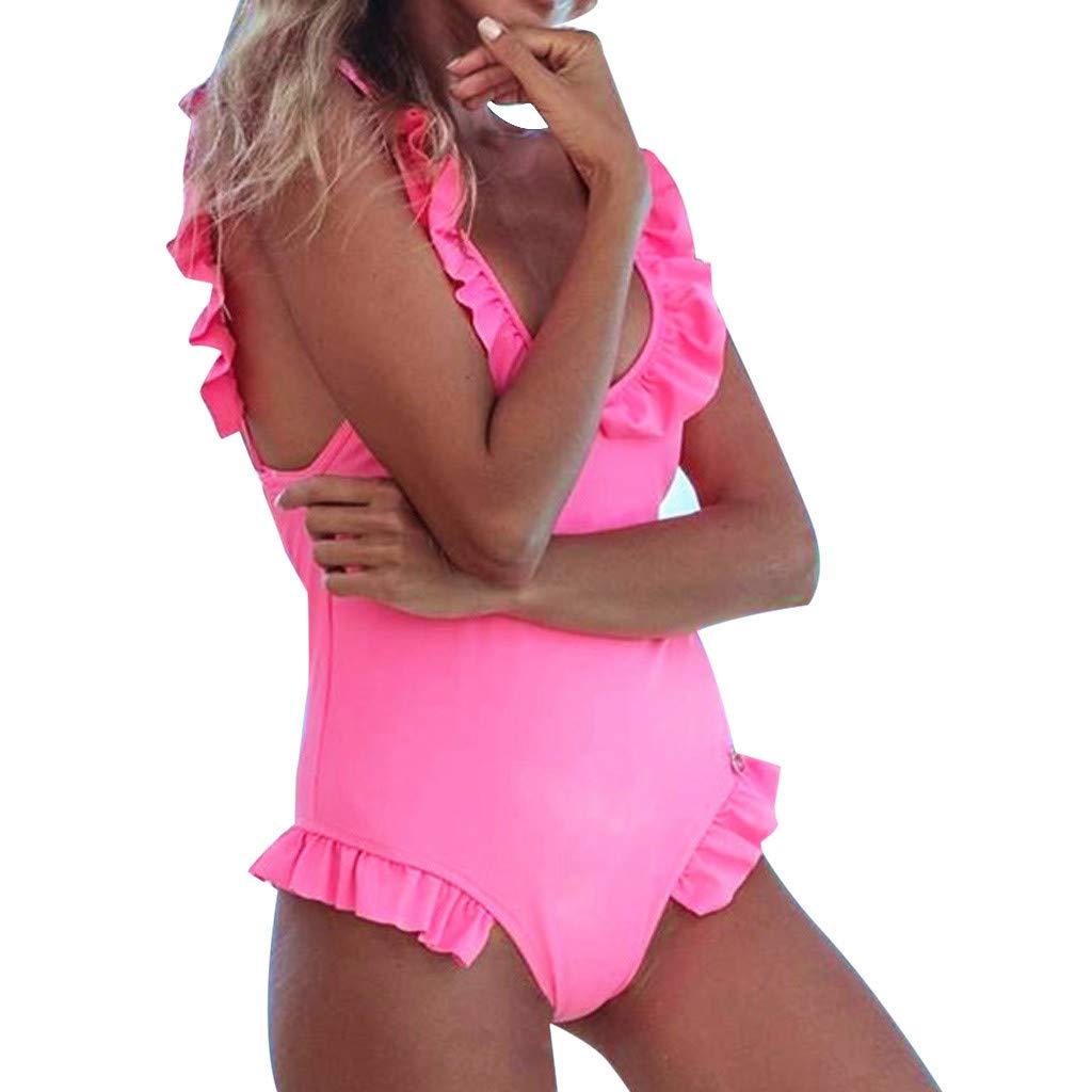 Damen-Badeanzug, Push up, Damen Bikini Solide Badeanzug Pushups gefüllt BH Bademode Beachwear, Monokini Sommer Sportliches Bademode Strand Bikini Tankini Set Bademode