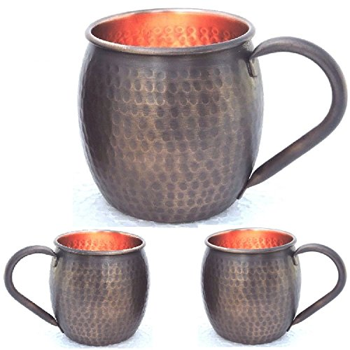 Moscow Mule Mug Copper Mug Copper Cups Gift Set of 2 With Smoked Matte Hammered Antique - Matte Cup