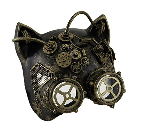 Cool Steampunk Costumes (Steamkitty Metallic Finish Steampunk Cat Woman with Goggles Halloween Mask)