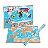 Office Products : Scratch Off World Map Poster - With Detailed US States and Europe Map | Our World Scratch Off Map Is A Perfect Gift For Travelers | A Display Of Your Adventures And Travels