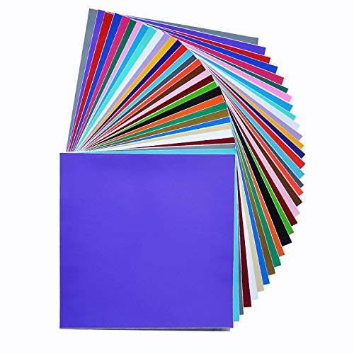 Permanent Adhesive Backed Vinyl Sheets by HCS   Printable   Assorted Colors and Finishes   Works with Cricut and Other Craft Cutters   60 Sheets 12' x 12'