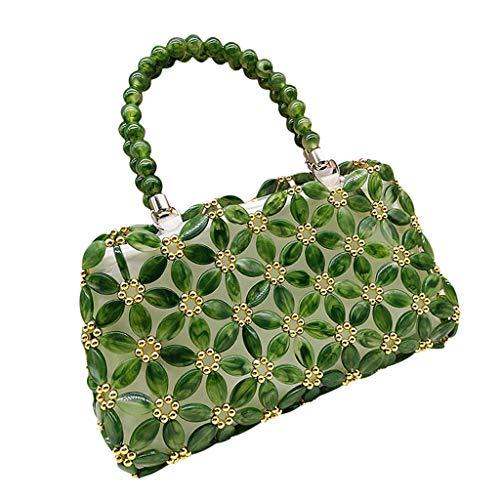 SM SunniMix Floral Beaded Purse Making Kits Handamde Green Beads Flower Handbag for Women Girls Lady Presents