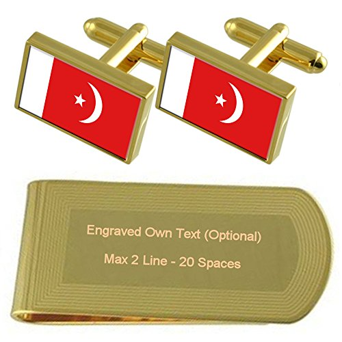 tone al Gold Cufflinks Flag Clip Qaiwan Gift Engraved Money Umm Set IaqCwpp