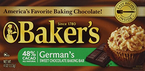 - Baker's, German Sweet Chocolate, Baking Bar, 4oz Bar (Pack of 6)
