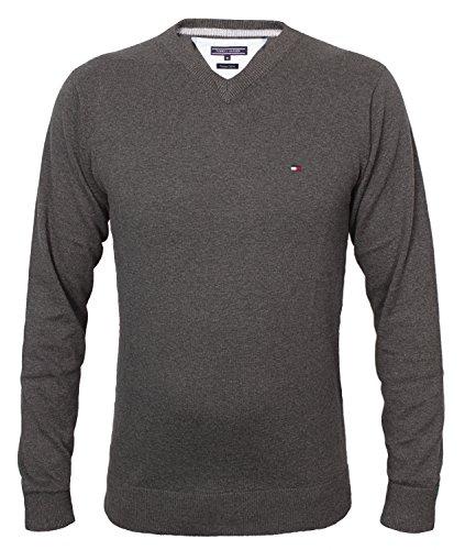 Tommy Hilfiger Herren Vneck Pullover CLASSIC HTR V-NK CF, Farbe:Anthrazit;Größe:M