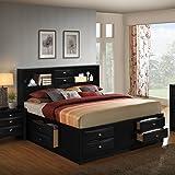 Roundhill Furniture Blemerey 110 Wood Storage Bed, King, Black