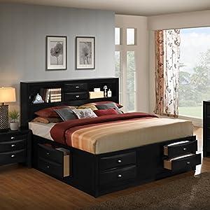 Roundhill Furniture Blemerey 110 Wood Storage Bed, King, Black-P