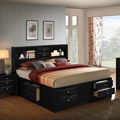 Roundhill Furniture Blemerey 110 Wood Storage Bed, Queen, Black (Queen Bed Size Storage)