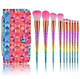 Unicorn Makeup Brushes Set Make Up Brushes Colorful Unicorn Horn Shaped Handles Foundation Eyeshadow Unicorn Brush Kit With Case 10Pcs