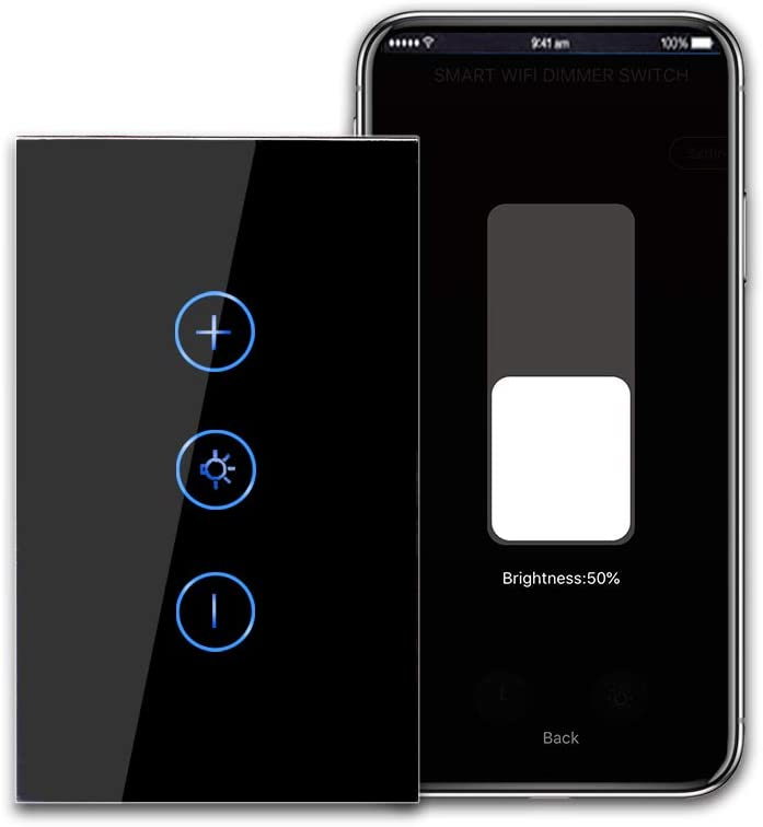 CNBINGO Smart Dimmer Switch, Single-Pole Touch Switch, Neutral Wire Needed, WiFi Light Switch for Dimmable LED/Bulbs, Work with Alexa/Google Assistant, Schedule, Remote Control, Black Glass Panel