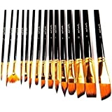 Art Brushes Set by Mont Marte, Great for Watercolor, Acrylic, Oil-15 Different Sizes Nice Gift for Artists, Adults & Kids
