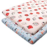 ALVABABY Pack n Play Baby Play Playard Sheets, 2pcs 100% Organic Cotton,Large 27x39x4,Soft and Light,Portable Crib Sheet for Boys and Girls Player Matteress 2FTPSW15