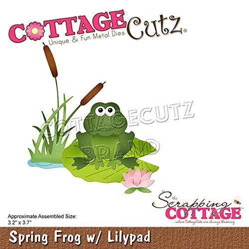Cottagecutz Die-spring Frog W/lilypad 3.2