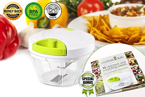 Manual Food Chopper: 3 Cups Vegetables, Garlic, Onion, Nuts Chopper Mincer, Banana and Apple Slicer - Chop, Mince and Slice for Salsa, Puree, Salad, Pesto - Bonus Recipe eBook (Food Chopper Progressive Onion)