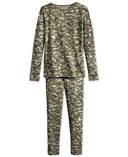 Big Boys Base Layer Thermal Shirt Long Underwear Set, her Navy Olive Green Digi Small ()