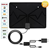 HDTV Antenna, 2018 new version Indoor Amplified TV Antennas 60 Miles Range with Detachable Amplifier Signal Booster,1080P Full HD High Reception with USB Power Supply
