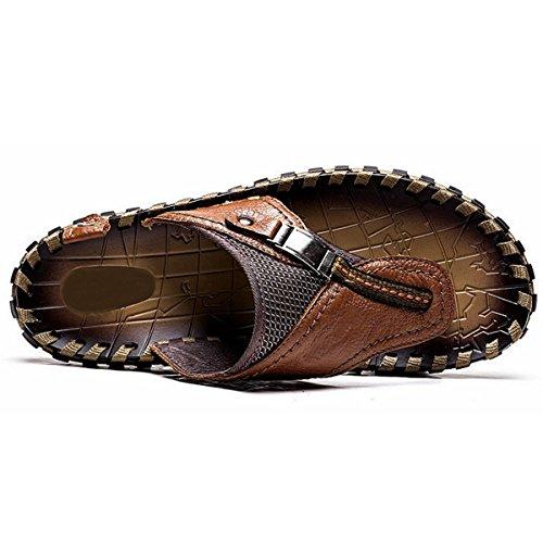 Pinuo 2016 Mens Estate Sandali In Pelle Pu Mens Pantofole Fresche Da Uomo Casual Spiaggia Piatta Con Sandali Marroni