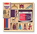 Melissa & Doug Wooden Princess Stamp Set: 9 Stamps, 5 Colored Pencils, and 2-Color Stamp Pad