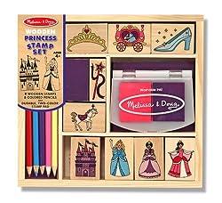 Melissa & Doug Wooden Princess Stamp Set: 9 Stamps, 5...