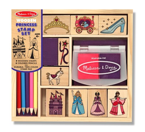 n Princess Stamp Set: 9 Stamps, 5 Colored Pencils, and 2-Color Stamp Pad (Scrapbooking Pencils)