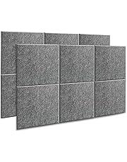 AGPtEK Panel Acústico, 12 Paneles de Absorción Acústica 30 * 30 * 1 cm Paneles de Aislamiento Acústico de bordes biselados, de Alta Densidad, excelentes para el hogar y oficinas - Gris oscuro