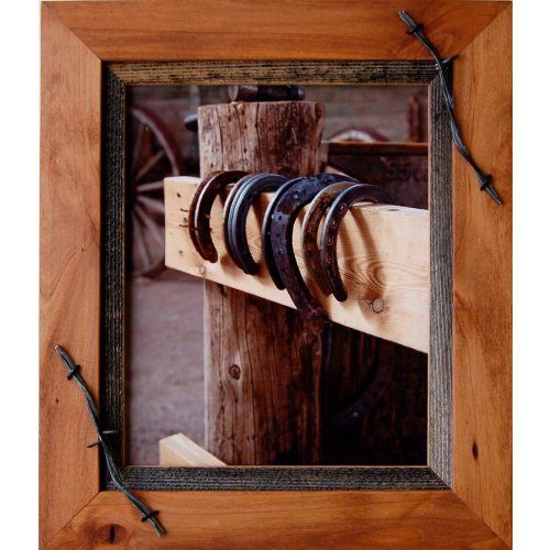My Barnwood Frames – Sagebrush Series Western Wood Picture Frame with Barbed Wire Accents (11×14 Inch) For Sale