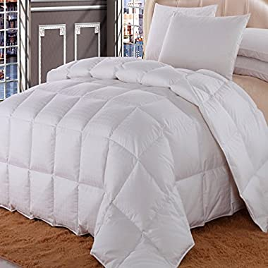 Royal Hotel Queen Size Dobby Checkered White goose Down-Comforter 90X90  650-Fill-Power 100 % Egyptian-Cotton Shell 300TC -Luxury Duvet Insert 36 oz. fill by Wholesalebeddings