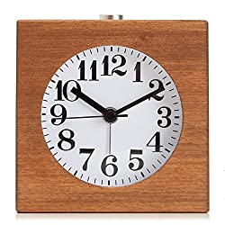 BABAN Alarm Clock Square Handmade Creative Classic Small Wooden Mute Lazy Bedside Clock with Night Light Sapele