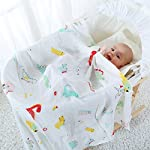 LifeTree-Muslin-Swaddle-Blankets-Dinosaur-Dino-Print-Baby-Shower-Gifts-Soft-and-Silky-Baby-Boy-Blanket-70-Bamboo-30-Cotton-47x47inch-Muslin-Blankets-Swaddling-Wrap