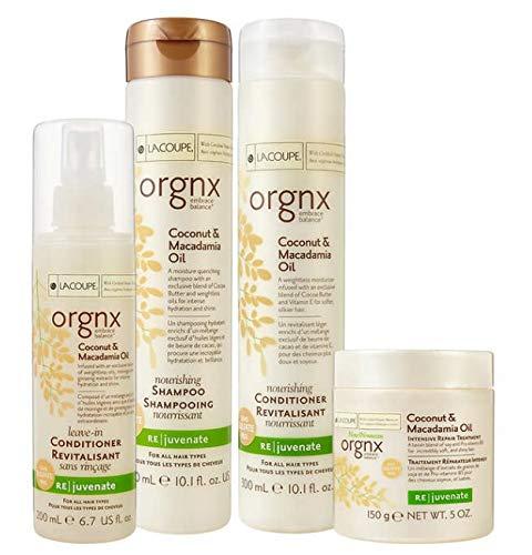 LaCoupe orgnx Coconut & Macadamia Oil Nourishing Shampoo + Conditioner + Repair Treatment + Spray by LA COUPE