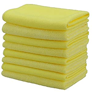 """Microfiber Kitchen Scrub/Cleaning Cloth, Cleaning and Scrubbing with One Cloth, Designed for Stubborn Stains on Sink, Stove, Bench, Window, No Scratch, No Streaks, 11.8"""" x 11.8"""", Yellow, (8 Pack)"""