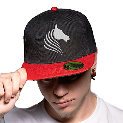 Visera Horse Original Urbano Logotipo Ajustable Cap Black Snapback Bordado Plana con Unisex Gorra Red y Lovely v1Wv4B