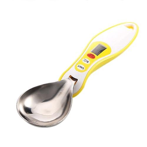 ステンレス鋼製液晶デジタルキッチンスプーンスケール,YIFAN 約300グラム/約0.1グラム 可能な取り外しのスプーンヘッド バランススケール 測定ツール 調理 食品 小麦粉重量 - イエロー