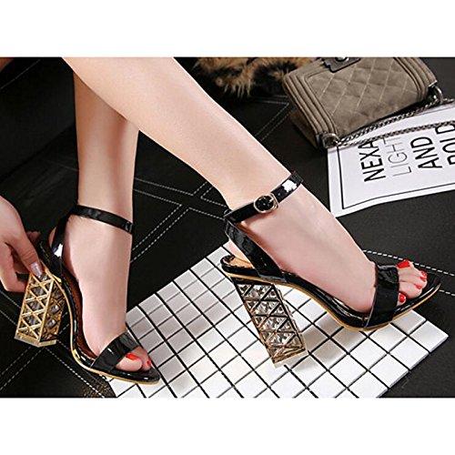 bomba básica Chunky Zapatos champán negro sandalias Black Comfort Verano Casual PU de mujer Primavera talón ZHZNVX d0vFqYTF