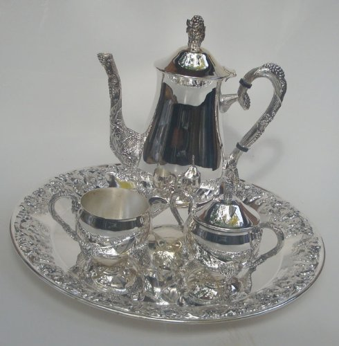 Godinger Silver Plated 4 Piece Grape Design Coffee Set Brand New, Open (Godinger Silver Plated Plates)
