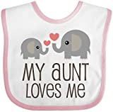 Inktastic - My Aunt Loves Me gift Baby Bib White/Pink