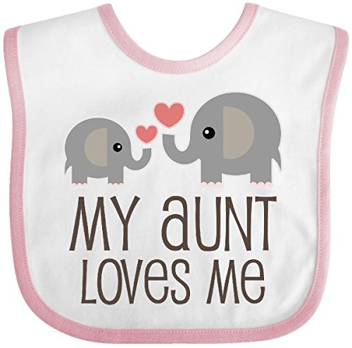 Inktastic - My Aunt Loves Me gift Baby Bib White/Pink (Bib Pink Baby Elephant)